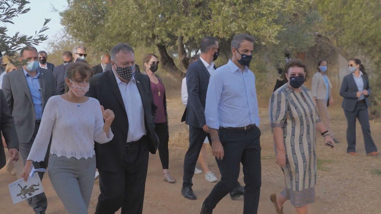 Eπίσκεψη του πρωθυπουργού και του Mike Pompeo στον αρχαιολογικό χώρο της Αρχαίας Απτέρας