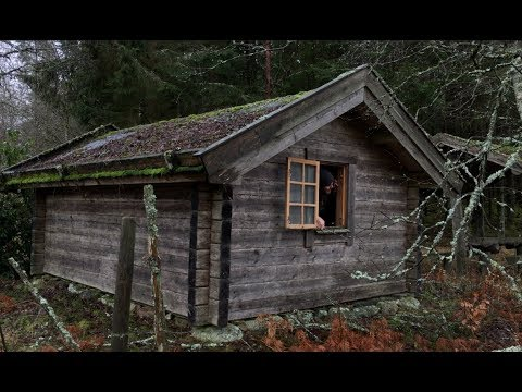 Off Grid Log Cabin Solo Winter Overnighter Camp - Snowstorm, Rain, Swedish Wilderness