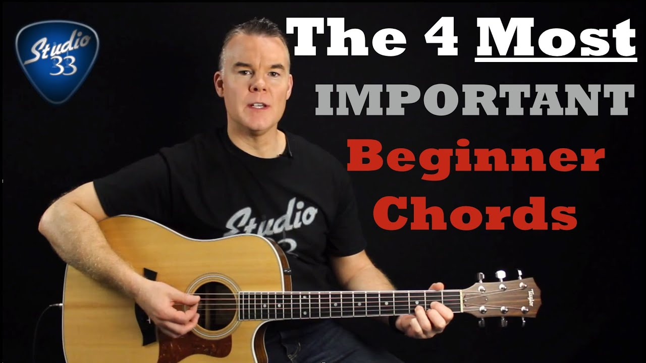 Beginner Guitar Chords- The 4 MOST Important Chords You Must Know
