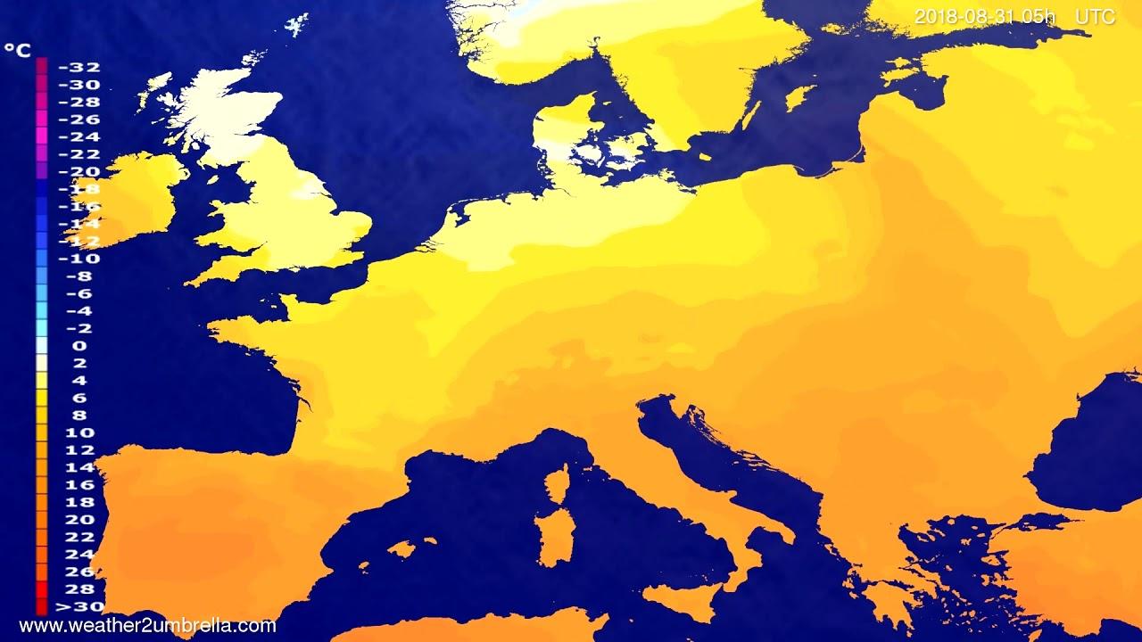 Temperature forecast Europe 2018-08-28