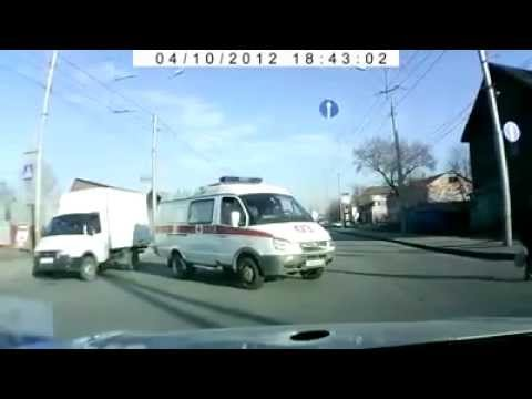 Close Call With Woman Vs Ambulance