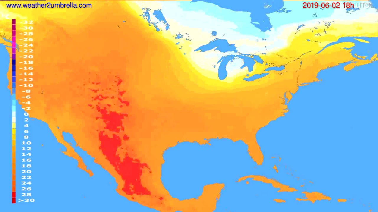 Temperature forecast USA & Canada // modelrun: 00h UTC 2019-05-31