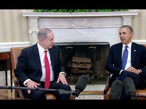 Netanyahu - President Obama and Israeli Prime Minister Netanyahu speak to the press before a bilateral meeting to discuss progress in Israeli-Palestinian negotiations, d...