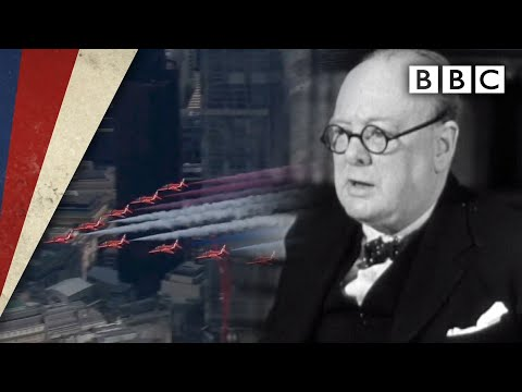Churchill's victory speech and Red Arrows flypast - VE Day 75 - BBC