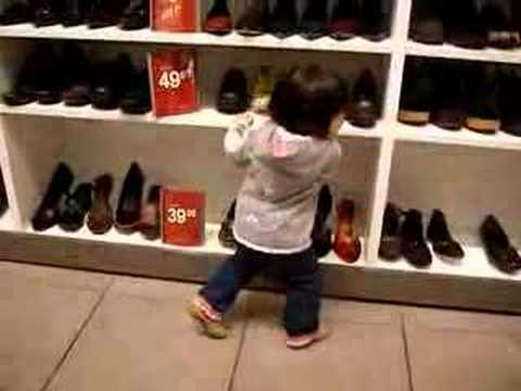 dancing at shoe store