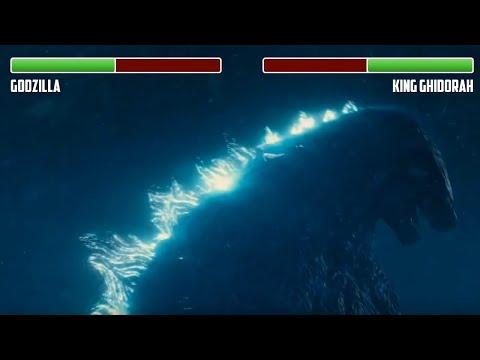 Godzilla vs. King Ghidorah WITH HEALTHBARS | First Fight | HD | Godzilla: King of the Monsters