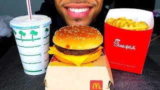 ASMR MCDONALDS CHICK-FIL-A IN-N-OUT QUARTER POUNDER W CHEESE WAFFLE FRIES VANILLA SHAKE EATING SHOW