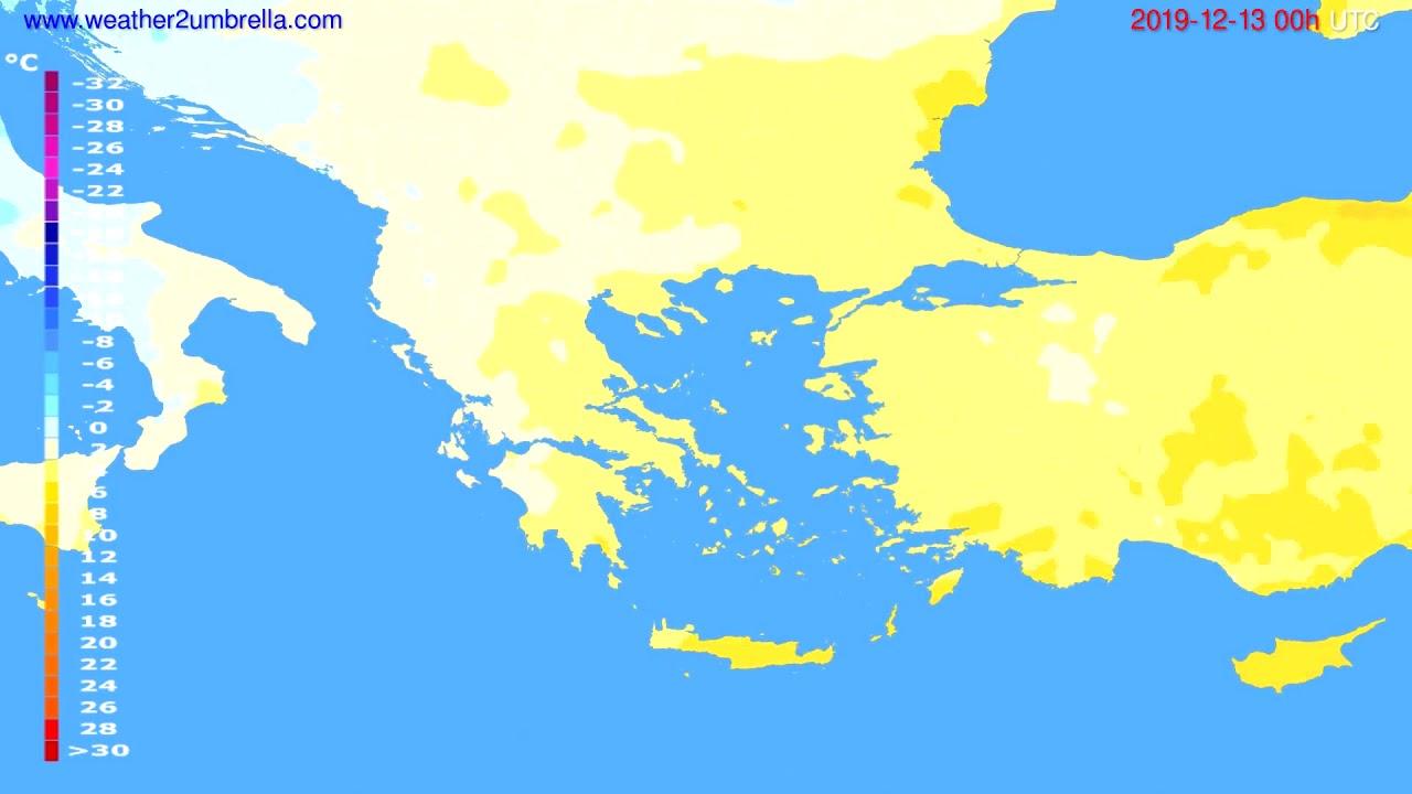 Temperature forecast Greece // modelrun: 00h UTC 2019-12-12