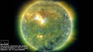 Time lapse movie of the Sun for the month of July (in extreme ultraviolet)