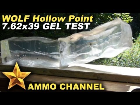 GEL TEST: 7.62x39 WOLF Hollow Point bullet expansion in Clear Ballistic Gel