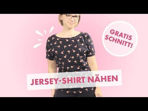 Nähanleitung Jersey T-Shirt in 10 Minuten mit Overlock oder Nähmaschine - kostenloses Schnittmuster!