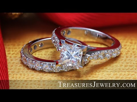 Customized 5.50ctw Solitaire Princess Cut Cathedral Style Engagement Bridal Ring Set Made In Chicago