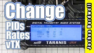 """Please consider supporting me via Patreon at: https://www.patreon.com/thedroneracingengineerI'm going to show you how to adjust PIDs, Rates, and vTX settings from your Taranis. There are three steps to being able to do this. First, you need OpenTX 2.2.0 on your radio, and you need the special """"Lua Script"""" version of the firmware installed. Second, you need to install the Lua script itself and learn to use it. Third, you need to have telemetry set up correctly on your quad. Are you ready? Let's go!--- RESOURCES ---The rest of this playlist: https://www.youtube.com/playlist?list=PLwoDb7WF6c8kLrGADjuxJUm5M2szXd_j8Nitbeat FPV's guide which got me started - http://www.nitbeatfpv.com/frsky-taranis-pid-settingsOpenTX 2.2 Download - http://www.open-tx.org/2017/05/30/opentx-2.2.0Betaflight Lua Scripts - https://github.com/betaflight/betaflight-tx-lua-scripts/releasesAmber sound pack compatible with OpenTX 2.2 is here: https://goo.gl/rb7Vbd--- SHOPPING ---Here are some stores where you can buy this radio:Banggood - https://goo.gl/I651r7 - This is an affiliate link. If you use it, I will get a small percentage of your purchase. But yeah, I know, you're kind of rolling the dice with customer support, so I forgive you if you don't use it.GetFPV - https://goo.gl/CHs5C1 - This is also an affiliate link.Aloft Hobbies - https://goo.gl/32BdFHHeliDirect - https://goo.gl/Juf0ahThe colored nuts that I installed are here: https://goo.gl/yRsSTUThe silicone switch covers are here: https://goo.gl/AWWsUZ"""