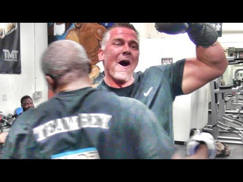 UK guest to the Mayweather Boxing Club hits pads with Floyd Mayweather Sr.