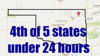 In a 24 hour period, I metal detected for one hour in 5 states each. I started my journey in Lowell, Arkansas at 9am and made it to Pryor, Oklahoma before sundown. After Oklahoma is Texas. I was tired, so I slept for about 6 hours about 30 miles east of the Texas border.It was interesting to see all the different soil types. The southern states had received some moisture a couple days prior to my trip, making the ground much easier to dig in. In Oklahoma, I was more discriminatory, in that I focused mainly on quarters and silver. Later, I opened it up to dimes, and of course, that made me find copper pennies. I don't know what the other metal thing was that I found, but hey...that happens all the time :)I detected using my Garrett Ace 250 and White's Bullseye TRX. I filmed using a Galaxy S3 and edited using Window's Movie Maker.