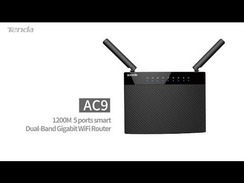 Tenda AC9 - 1200M 5 ports smart Dual-band Gigabit WiFi Router.