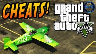 GTA 5 CHEATS Gameplay - CARS, SLOW-MO, PARACHUTE & MORE! (Grand Theft Auto V Cheat Codes)