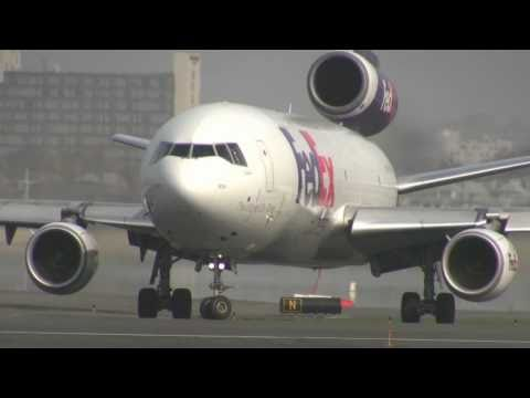 Sweet, Foggy, Early Morning FedEx DC-10 Departure From Boston Logan 4-27-2011