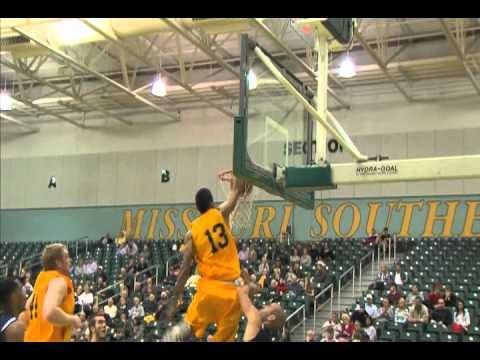 Jason Adams baseline dunk against Arkansas Fort Smith, courtesy of Andy Searcy of KODE-TV