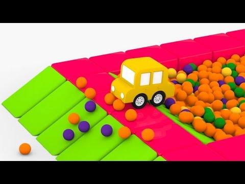 Мультики для самых маленьких. 4 машинки. Сухой бассейн с шариками (видео)