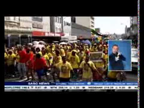 Thousands of ANC supporters marched in the city of Durban