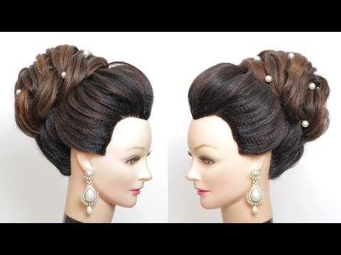 Hairstyles for long hair - New Bridal Bun Hairstyle For Long  Medium Hair.  Updo Tutorial