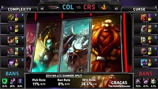 compLexity vs Curse | S4 NA LCS Summer split 2014 Week 8 Day 1 | COL vs CRS W8D1 80 min long x)