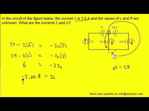 In the circuit of the figure below, the current I1 is 3.0 A and the values of ε and R are unknown.