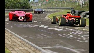 Video F1 Ferrari SF71H '18 vs Ferrari F80 vs Bugatti Chiron vs Mercedes-Benz Vision GT at Nordschleife MP3, 3GP, MP4, WEBM, AVI, FLV September 2018