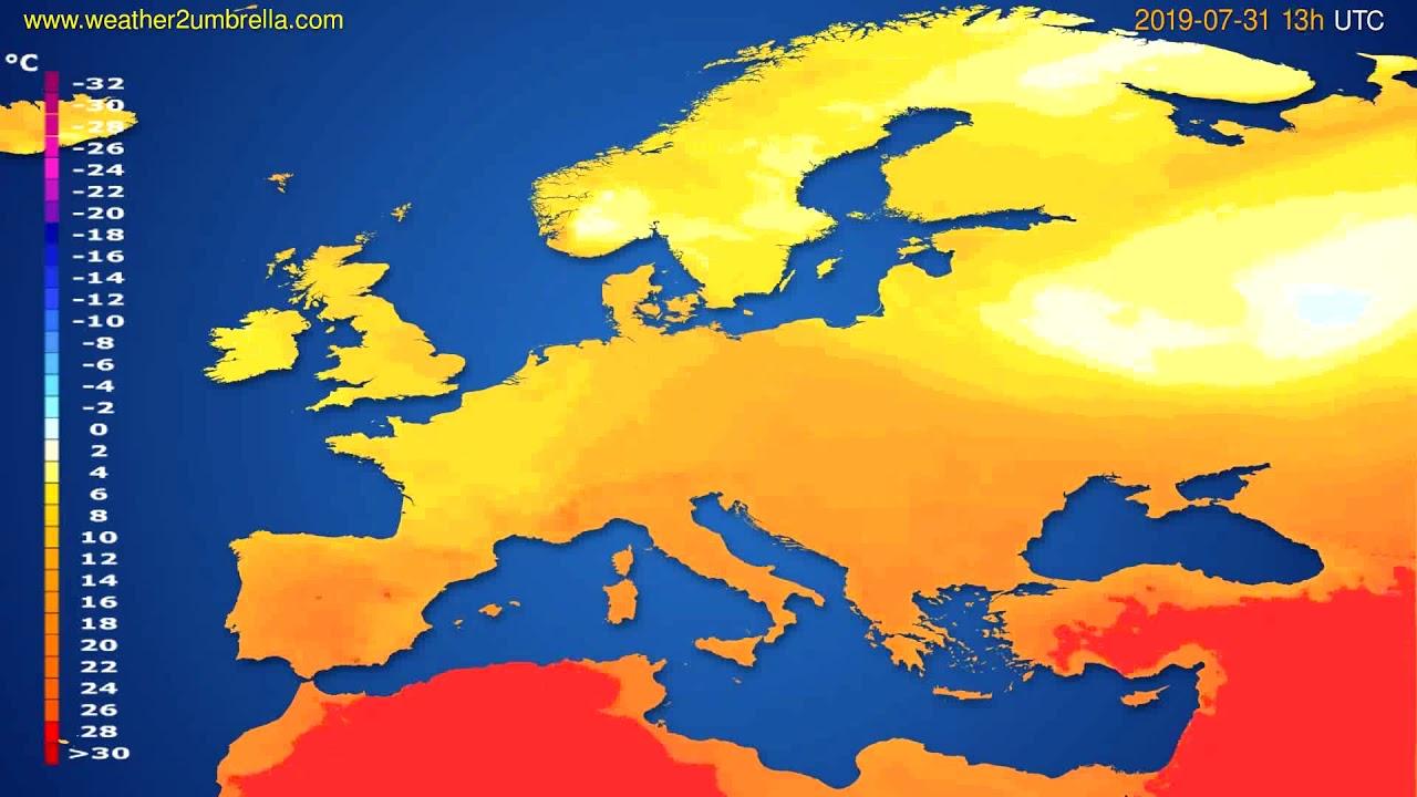 Temperature forecast Europe // modelrun: 12h UTC 2019-07-29