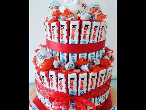 DIY Kinderriegel Geschenk Torte / Kreative Geschenk Idee / Torte aus Kinderriegel