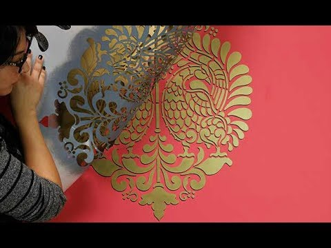 How to Paint a 3D Wall Stencil Design with Drop Shadow
