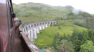 Glenfinnan United Kingdom  city photo : Harry Potter's Jacobite Steam Train Mallaig-Fort William crosses rainy Glenfinnan Viaduct, Aug. 2015