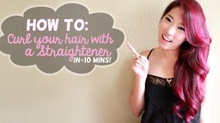 How to curl your hair with a straightener in 10 mins! - YouTube