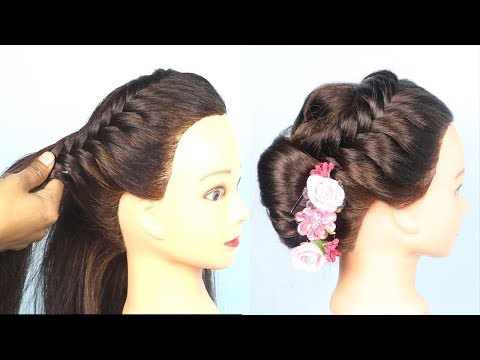 New hairstyle - Braided French Bun roll Hairstyles for party  French Bun Hairstyle 2019 for girls  hair style girl