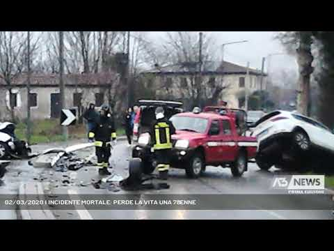 02/03/2020   INCIDENTE MORTALE: PERDE LA VITA UNA 78ENNE