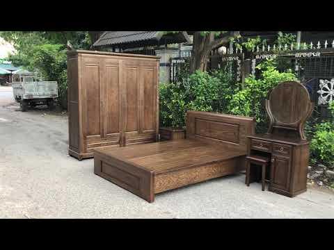 Bộ combo phòng ngủ gỗ Sồi Nga lau màu óc chó - ĐỒ GỖ CƯỜNG NGA