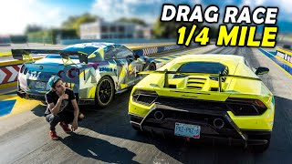 Video HURACÁN PERFORMANTE  vs  700HP NISSAN GTR - DRAG RACE!! MP3, 3GP, MP4, WEBM, AVI, FLV September 2019