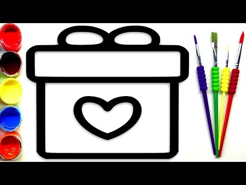 GLITTER Surprise Box | Drawing and Painting the Box | Learn Colors for Kids  ( Toddlers )