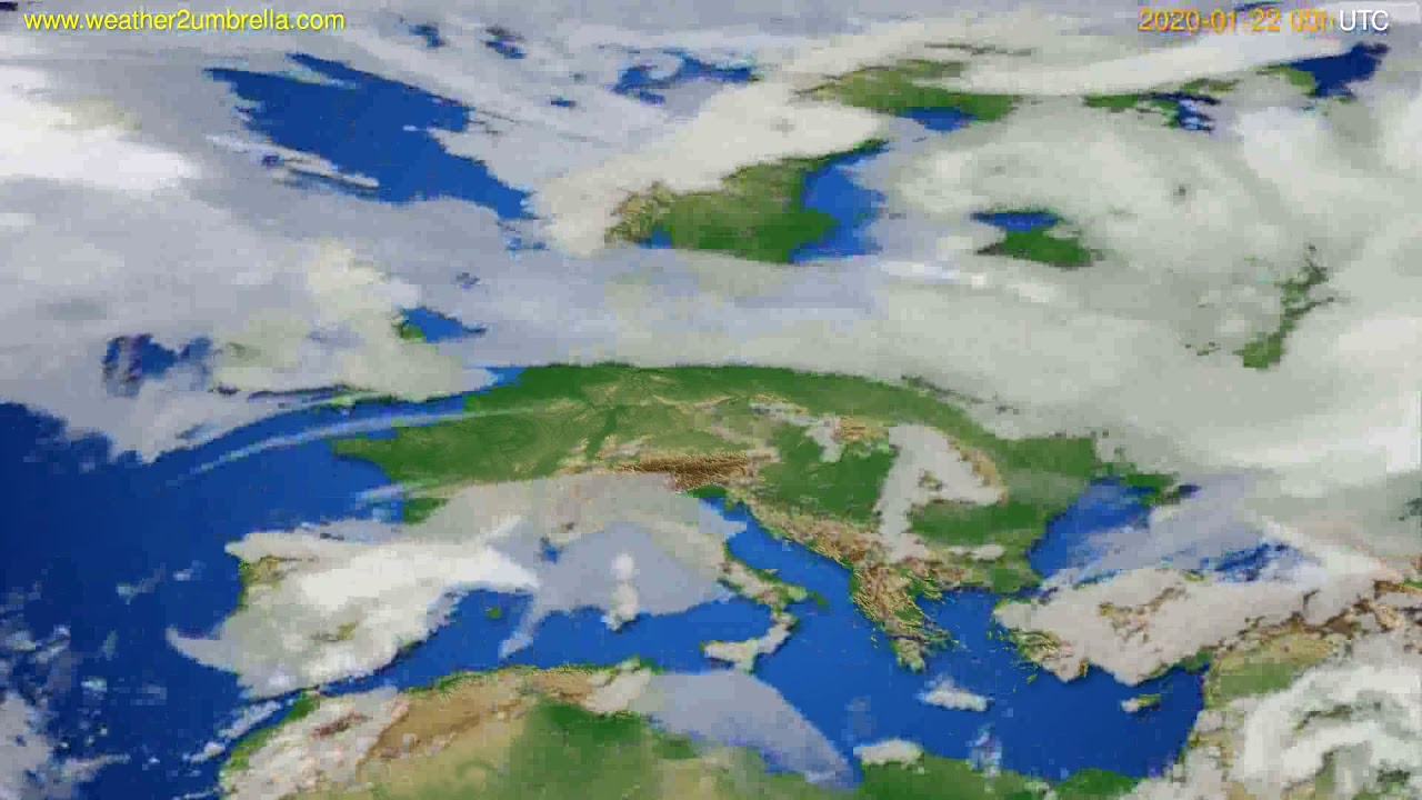 Cloud forecast Europe // modelrun: 00h UTC 2020-01-21