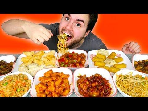 TRYING P.F. CHANG'S FROZEN MEALS! - Orange Chicken, Dumplings, Noodles, Egg Rolls Taste Test!