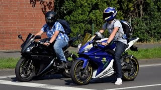 8. Yamaha R6 - Burnout at the traffic light in the center of the city Drift-Super Sonds-Tricks) 2014