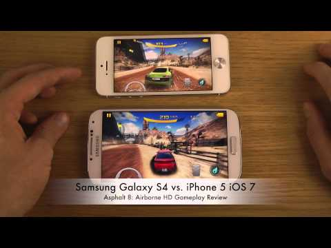 Samsung Galaxy S4 vs. iPhone 5 iOS 7 - Asphalt 8 Airborne HD Gameplay Review