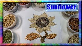 Download Video Belajar Cara Melukis kolase Bunga Matahari dengan Biji bijian | Learn colors for children sunflower MP3 3GP MP4
