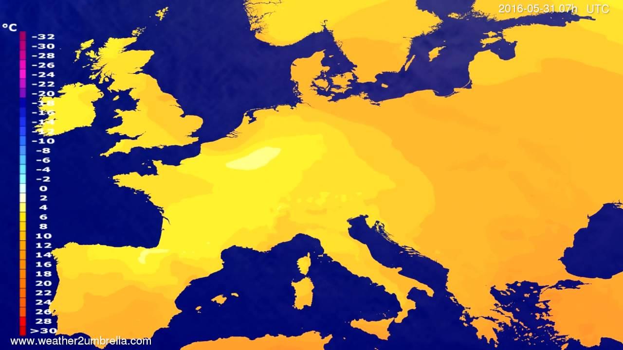Temperature forecast Europe 2016-05-27