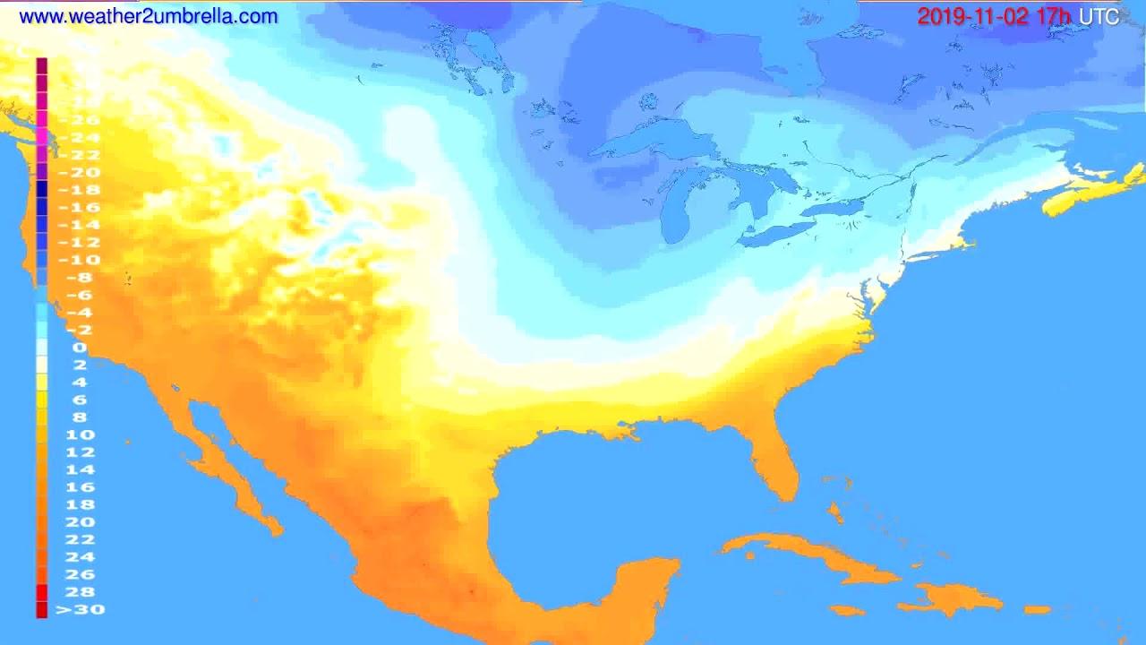 Temperature forecast USA & Canada // modelrun: 00h UTC 2019-11-01