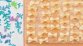 Pasta casera tipo moñito (farfalle)