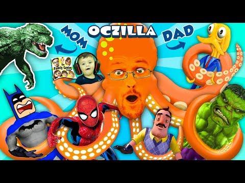 GODZILLA MOMMY + OCTOPUS DADDY = OCTZILLA!! FGTEEV & Friends: Batman, Hello Neighbor, Spiderman Hulk (видео)