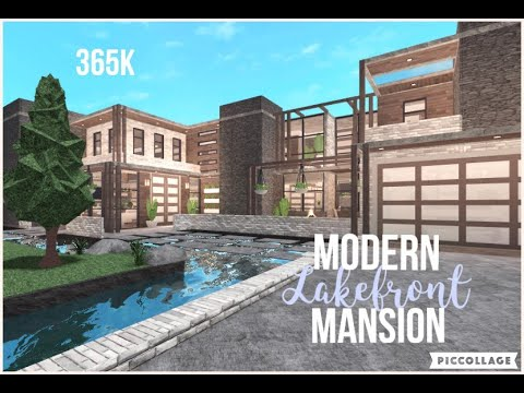 Bloxburg   Modern Lakefront Mansion   Speed Build  365k