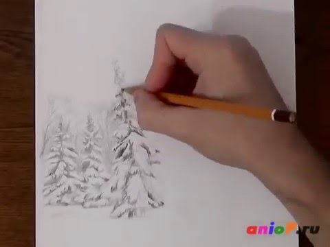 Рисование зимнего пейзажа - видео на сайте VideoVortex.ru